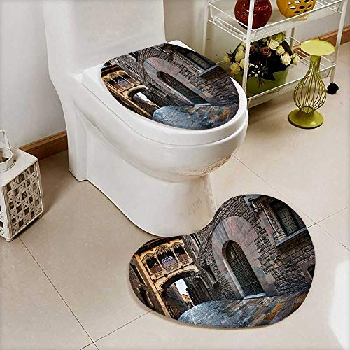 Printsonne 2 Piece Toilet mat set barri gothic quarter and bridge of sighs in barcelona catalonia spain 2 Piece Heart shaped foot pad set by Printsonne