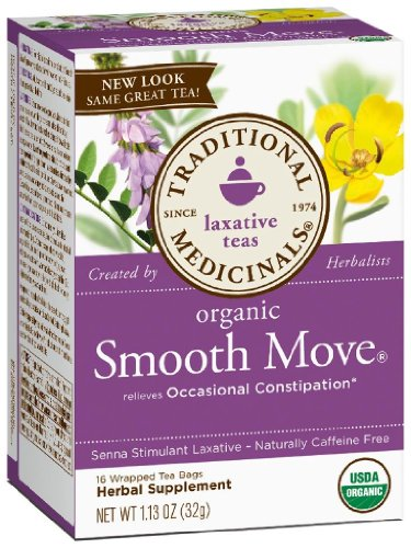 (Traditional Medicinals Organic Smooth Move Herbal Stimulant Laxative Wrapped Tea Bags - 16 ct, 1.13 oz - 6 pk)