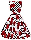 A-Line 1950s Style Picnic Dress Women Belt Size S F-36