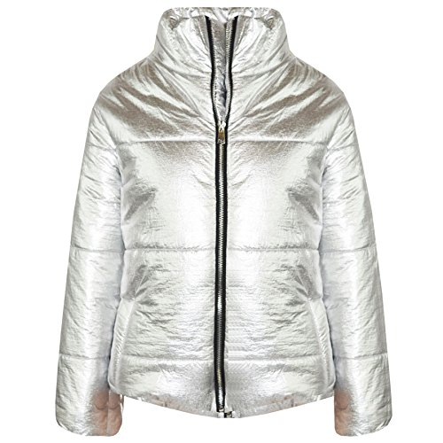 (A2Z 4 Kids® Girls Jacket Kids Metallic Foil Cropped Padded Quilted Puffer Jackets Coats 5-13)
