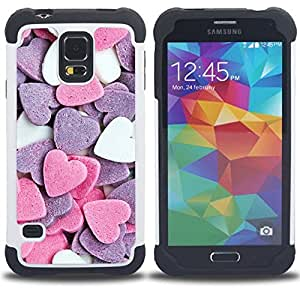 For Samsung Galaxy S5 I9600 G9009 G9008V - heart candy sweet valentines pink white Dual Layer caso de Shell HUELGA Impacto pata de cabra con im??genes gr??ficas Steam - Funny Shop -