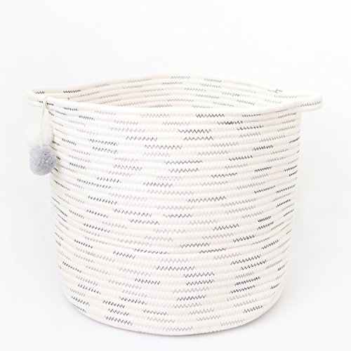 Large Decorative Cotton Rope Storage Basket With Pom Poms | 15
