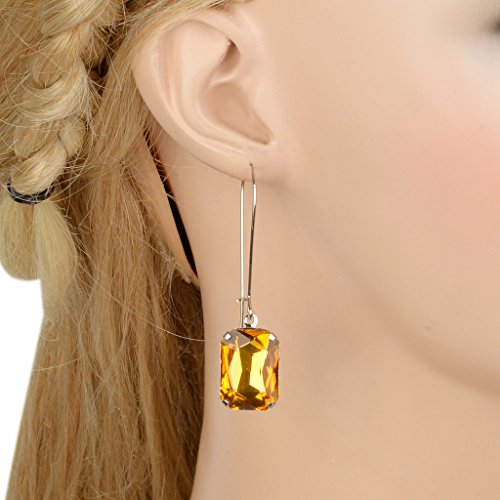 EVER FAITH Rhinestone Crystal Vintage Inspired Square Hook Dangle Earrings
