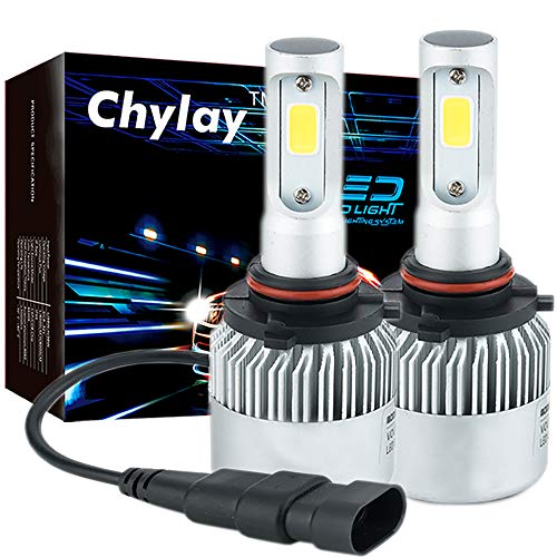 Chylay 9005 LED Headlight Bulbs Compatible HB3 for Car Headlamp High Low Beam & Fog Light, 72W 8000LM 6500K White Aluminum Housing & Turbo Cooling -2 Yr ()