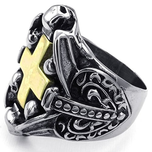 Aomily Jewelry, Mens Finger Rings Stainless Steel Gold Silver Cross Crucifix Size 11 (Chevy 1500 Bull Bar compare prices)