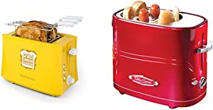 Nostalgia TCS2 Grilled Cheese Toaster with Easy-Clean Toaster Baskets and Adjustable Toasting Dial & HDT600RETRORED Pop-Up 2 Hot Dog and Bun Toaster, Pack of 1, Retro Red