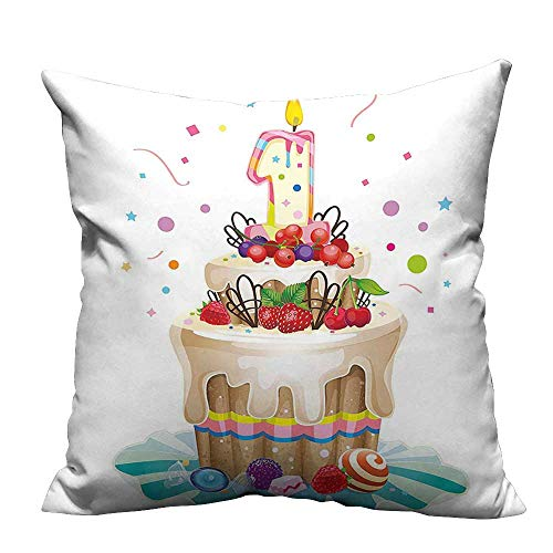 YouXianHome Household Pillowcase Baby First Party Festive Cake with Forest Fruits and Candle Image Multicolor Perfect for Travel(Double-Sided Printing) 31.5x31.5 inch