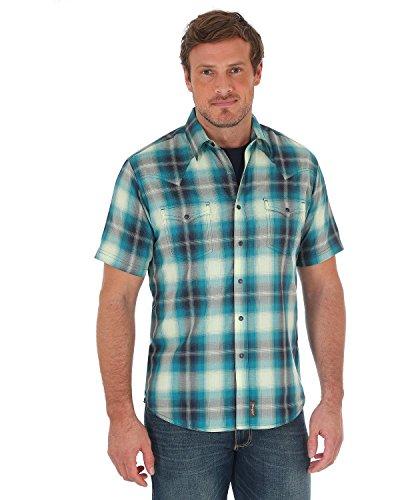 Wrangler Men's Green Retro Plaid Short Sleeve Shirt Green (Retro Western Shirts For Men)