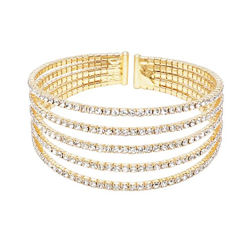 Rosemarie Collections Women's 5 Strand Rhinestone Statement Bracelet (Gold)