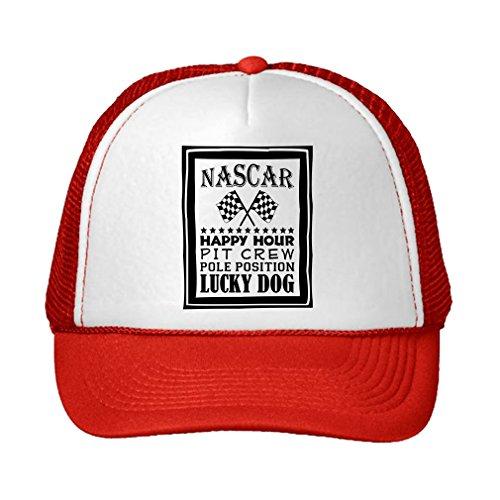 Pit Crew Cap (Speedy Pros Race Happy Hour Pit Crew Pole Position Adjustable High Profile Trucker Hat Cap Red)