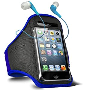 Fone-Case Sony Ericsson Xperia Arc S Adjustable Sports Fitness Jogging Arm Band Case & 3.5mm In Ear Earbud Base Earphones (Blue)