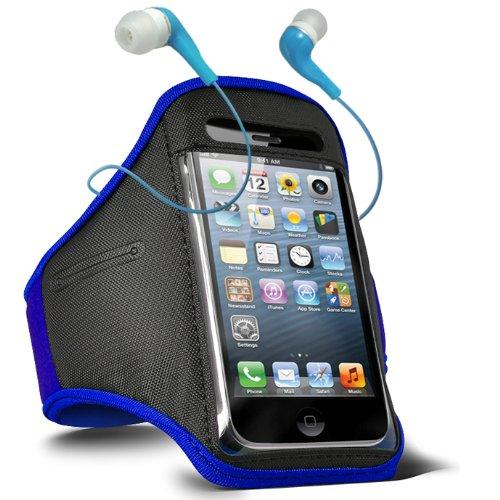 Fone-Case Blackberry Bold Touch 9900 Adjustable Sports Fitness Jogging Arm Band Case & 3.5mm In Ear Earbud Base Earphones (Blue)