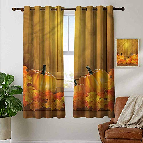 (petpany Light Blocking Curtains Pumpkin,Celebration Season Rustic,for Bedroom, Kitchen, Living Room)