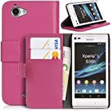 Topratesell Structure Wallet Flip Case Bag Pouch for Sony Xperia L C2104 C2105 with Credit Card Pockets and Stand-up Feature (Hot Pink)