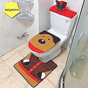 Amazon Easymore Decorations Toilet Lid 3 Set Happy Elk Toilet