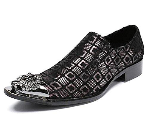 Zapatos Negro a Vaquero nbsp; Club Vestir occidental pie Black Mocasines 46 Metal de Enrejado nbsp;Negocio Puntiagudo Tamaño del hombre Dedo Ponerse Cuero nbsp;Fiesta 38 nbsp;Formal HxqHzBwr