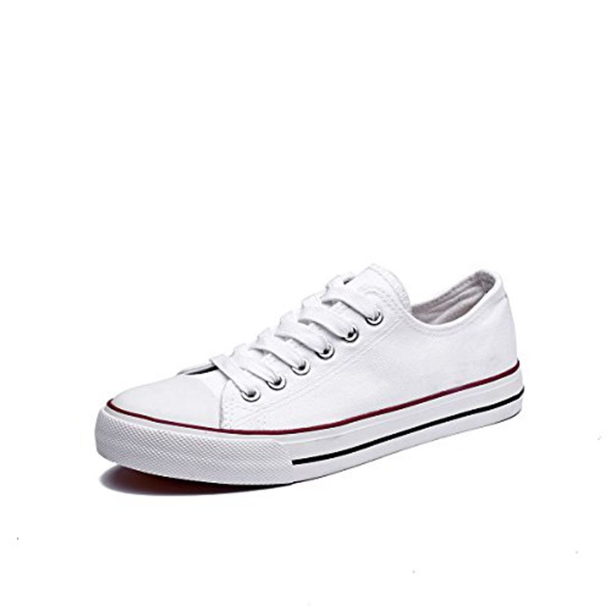 Adokoo Women's Canvas Shoes Casual Sneakers Low Cut Lace up Fashion Comfortable for Walking White Size US6
