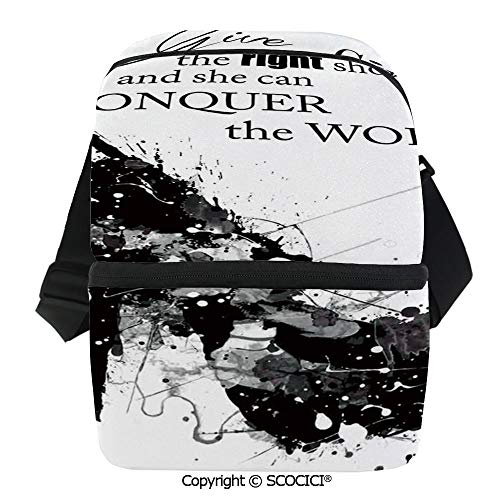 SCOCICI Insulated Lunch Cooler Bag Give A Girl The Right Shoes and She Can Conquer The World Woman Fashion Art Print Reusable Lunch for Men Women Heat Insulation,Heat (Best Conquer Men Bicycles)