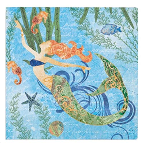 Cape Shore Beverage Cocktail Napkins Mermaid at Heart, 2 Packages of 24 Napkins 5 Inches Square