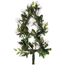 """40"""" Artificial Tree-Shaped Mixed Pine, Magnolia Leaf & Pinecone Hanging Wreath -Green/Brown"""