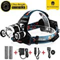 TOTOBAY Waterproof 4 Modes 3 Led Beads 5000Lm Rechargeable Headlamp, Batteries and Charger Included