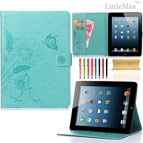 Pure Peony Series (iPad 4 Case,iPad 2 3 Case-LittleMax Smart Leather Case Embossed Butterfly&Flower Pure Color Series [Magnetic Closure] Stand Case with Card Holder for Apple iPad 2/3/4-#2Mint)