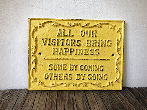 Rustic Guest Room Sign - Yellow Welcome Wall Art - Funny Farmhouse Entryway Decor - Unique Housewarming -