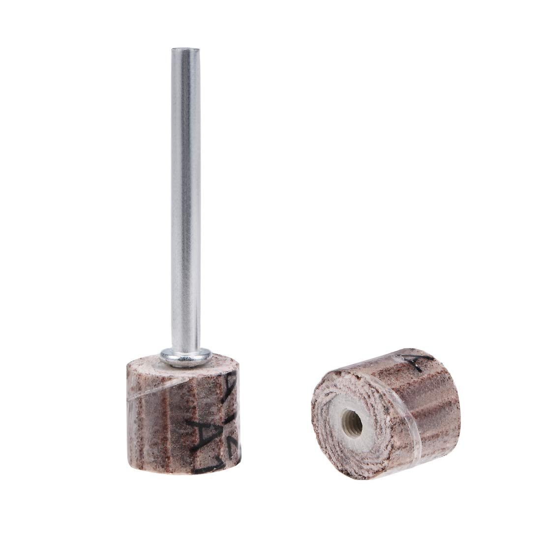 uxcell 2 Pcs 10x10mm Flap Wheel 120 Grits Abrasive Grinding Head with 1/8'' Shank for Rotary Tool