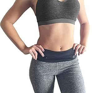 Fitness Running Belt Waist Pack - by Perdy Body Reversible Money Belt Fanny Pack for Phone, Money, Passport, Running, Hiking, Gym, Yoga, Travel (Black Small)