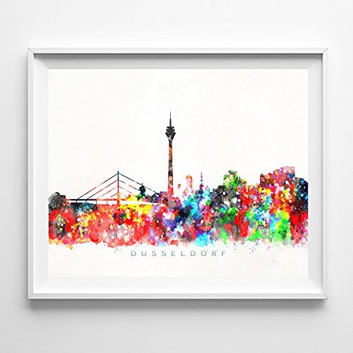 Dusseldorf Germany Watercolor Skyline Wall Art Home Decor Poster UNFRAMED