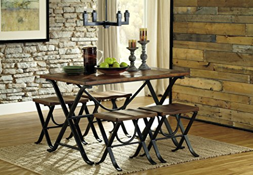 Ashley Furniture Signature Design - Freimore Dining Room Table and Stools - Set of 5 - Medium Brown Wood Top and Black Metal Legs by Signature Design by Ashley (Image #5)