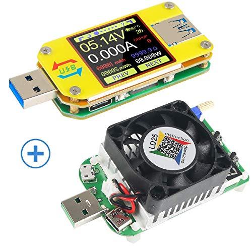 MakerHawk UM34C USB 3.0 Multimeter Bluetooth USB Voltmeter Ammeter and USB Electronic Load Tester Resistor USB Voltage Current Battery Power Capacity Charger Temperature Load Meter Tester (Usb Load Tester)
