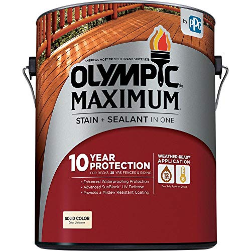 Olympic Stain 79614 Maximum Wood Stain and Sealer, 1 Gallon, Solid Stain, Navajo Red ()
