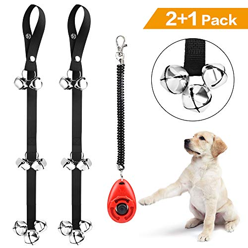(Kytely Dog Doorbells for Potty Training, 2 Pack Potty Dog Bells with One Clicker and 7 Extra Loud Bells Adjustable for Puppy Training, Housebreaking)