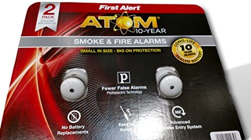 First alert smoke Fire alarms 2 pk fewer false alarms atom 10 – year