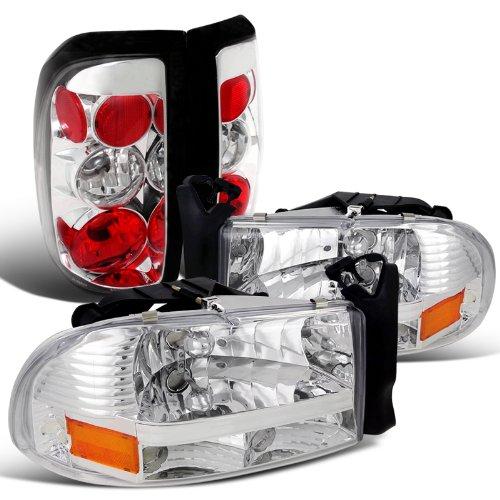 Crystal Dakota - Spec-D Tuning LT2LH-DAK97C-ABM Headlight Tail Light (Dakota Pickup Crystal Chrome Clear Brake Lamp)