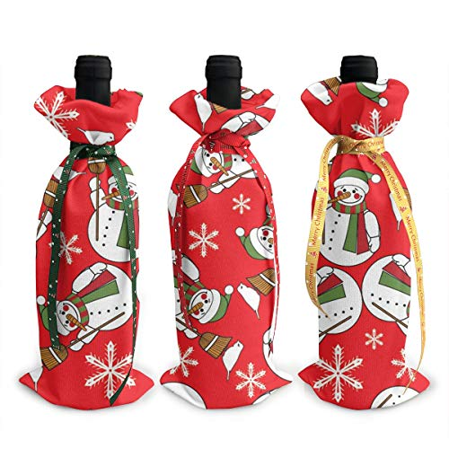 IEHFE MCNXB Christmas Snowman 3pcs Christmas Wine Gift Bags for Dress Up Wine Bottle Kitchen Candy Gift Bag ()
