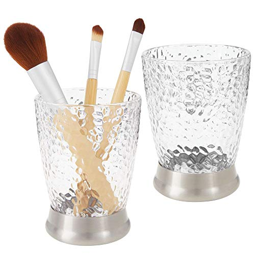 mDesign Modern Round Plastic Tumbler Cup for Bathroom Vanity Countertops for Rinsing, Drinking, Storing Dental Accessories and Organizing Makeup Brushes, Eye Liners - 2 Pack - Clear/Brushed