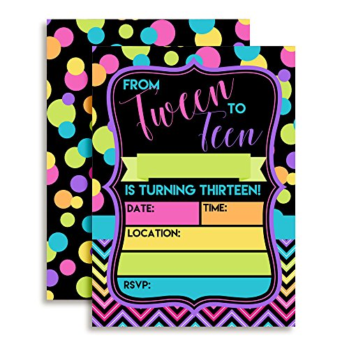 Neon Polka Dot From Teen to Tween 13th Birthday Party Invitations for Girls, 20 5