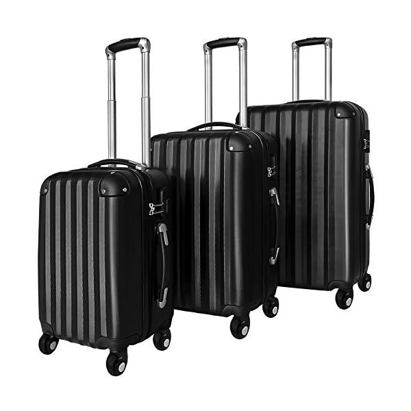 06afc1b73 Juego de 3 maletas rigidas color negro de plástico ABS flexible ...