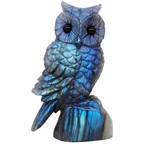 NATURSTON Handcrafted Owl Statue Natural Labradorite Detailed Carving Animal Figurine Healing Gift (Blue, 3.0''-3.4'') (Animal Gemstone Carving)