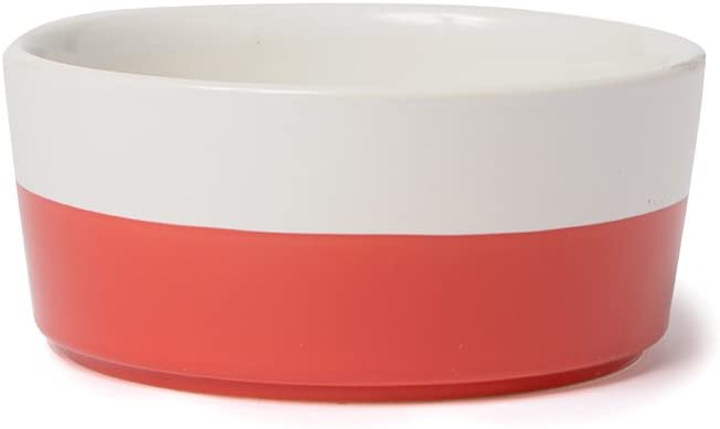 Waggo Dipper Ceramic Dog Bowl Cherry Red/White Heavyweight Durable Dog Food and Water Dish (Small)