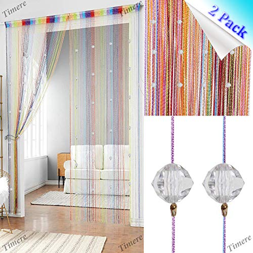 (2 Pcs Crystal Beaded Curtain Tassel Curtain - Partition Door Curtain Beaded String Curtain Door Screen Panel Home Decor Divider Crystal Tassel Screen 90x200cm (Rainbow-2Pcs))