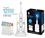 Pursonic S430 High Power Rechargeable Sonic Toothbrush With 12 Brush Heads & a Storage Charger (White)