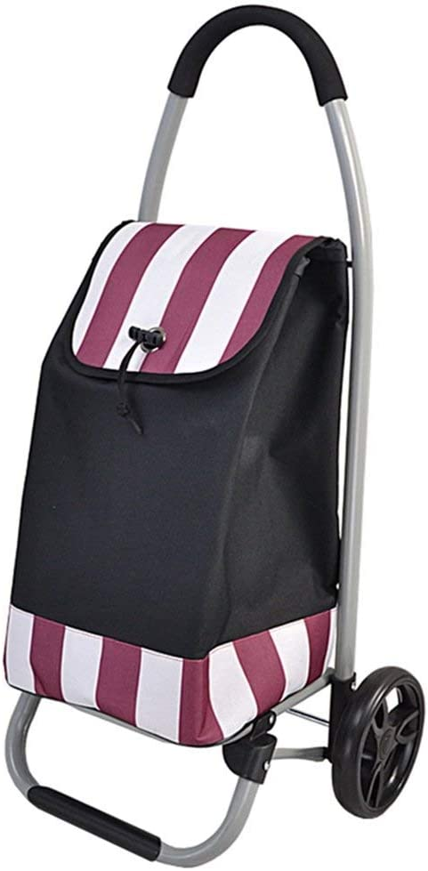Hiyougen Lightweight Collapsible Shopping Trolley Grocery Cart Pull Carts Oxford Cloth Stripe Shopping Bag Cart Portable Color : B