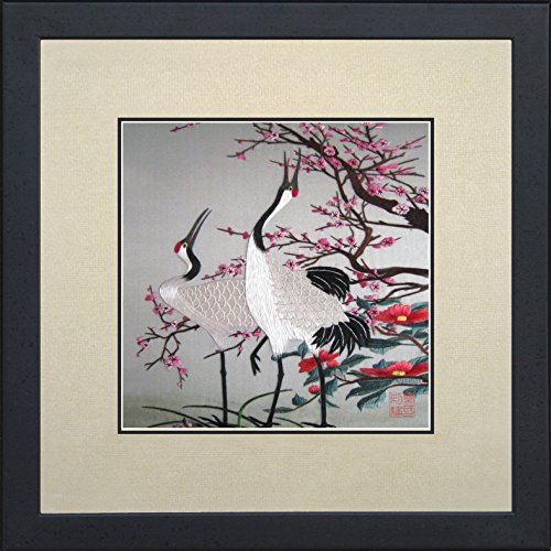 (King Silk Art 100% Handmade Embroidery Framed Red Crowned Japanese Cranes & Cherry Blossoms Oriental Wall Hanging Art Asian Decoration Tapestry Artwork Picture Gifts 31074WFB1 )