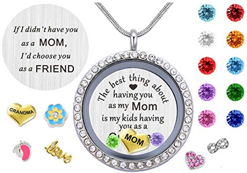 BEFFY Best Gifts for Mother Mom Grandma Mammy Mum,30mm Round Living Memory Floating Charm Locket Pendant Necklace with Birthstones & Charms for $<!--$16.99-->
