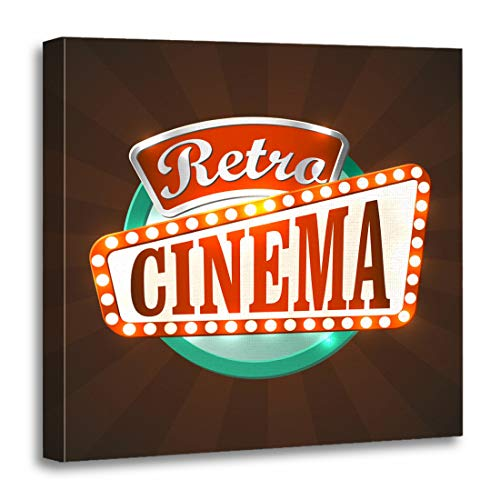 (Emvency Canvas Wall Art Print Theater Red Movie Cool Retro Cinema Sign Marquee Light Artwork for Home Decor 20 x 20 Inches)