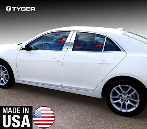 - Made In USA! Works With 2013-2015 Chevrolet Malibu 6PC Stainless Steel Chrome Pillar Post Trim