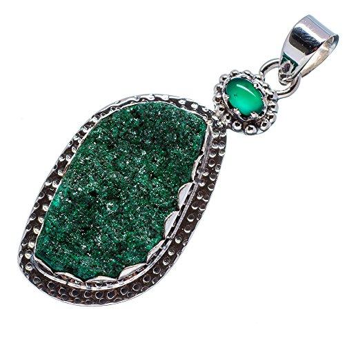 Malachite Druzy, Green Onyx 925 Sterling Silver Pendant 2